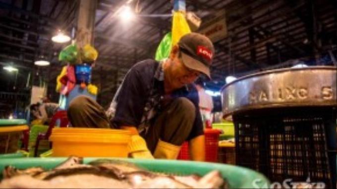 Anh Sơn làm công nhân tại vựa đã được 15 năm, mỗi ngày chủ vựa trả cho chú 300 nghìn đồng. Anh bắt đầu đi làm từ 8 giờ tối và kết thúc vào 7 giờ sáng hôm sau.