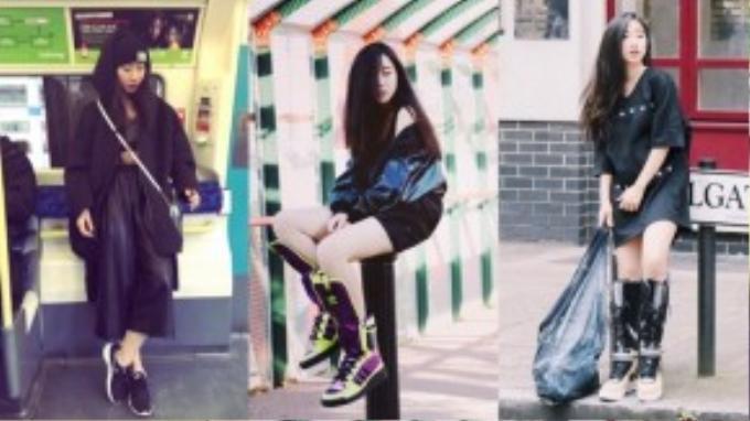 Ngoài làm stylist cho nhiều người nổi tiếng, Dương rất chịu khó mặc đẹp mỗi dịp ra đường, những đôi giày cô đi chứng tỏ đẳng cấp thời trang của cô.