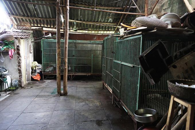 Những chiếc lồng sắt màu xanh đặt san sát nhau trong khoảng sân nhỏ phía sau nhà của gia đình ông Trần Văn Trách (Thái Nguyên). Gia đình này từng nuôi gần 10 con gấu để kinh doanh lấy mật. Theo Cục Kiểm lâm, tính đến cuối tháng 7/2018, Việt Nam còn khoảng 780 con gấu được nuôi nhốt ngoài các trung tâm cứu hộ trên cả nước.