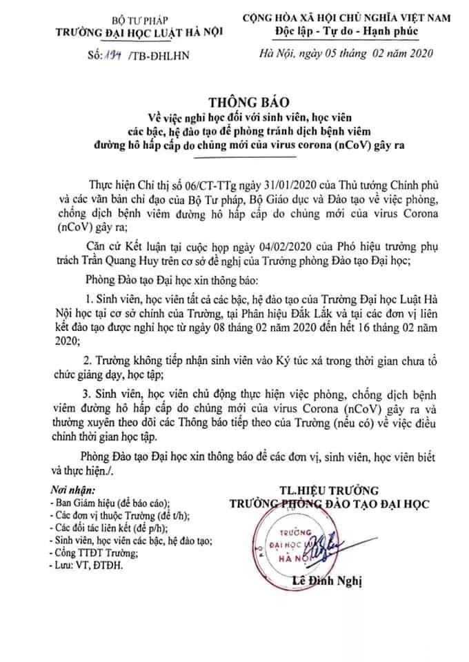 Thông báo của trường Đại học Luật Hà Nội