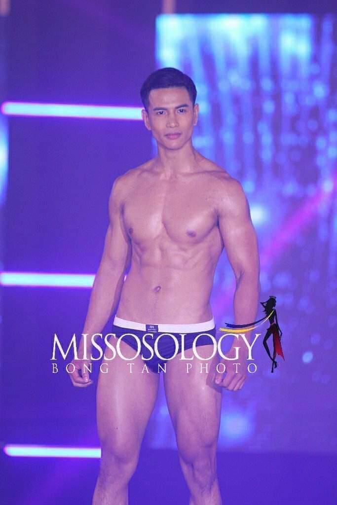 Trịnh Bảo trong phần thi trình diễn đồ tắm.