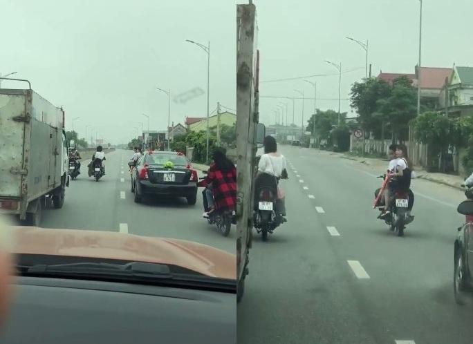 Nhóm thanh niên không đội mũ bảo hiểm – (ảnh cắt từ clip).