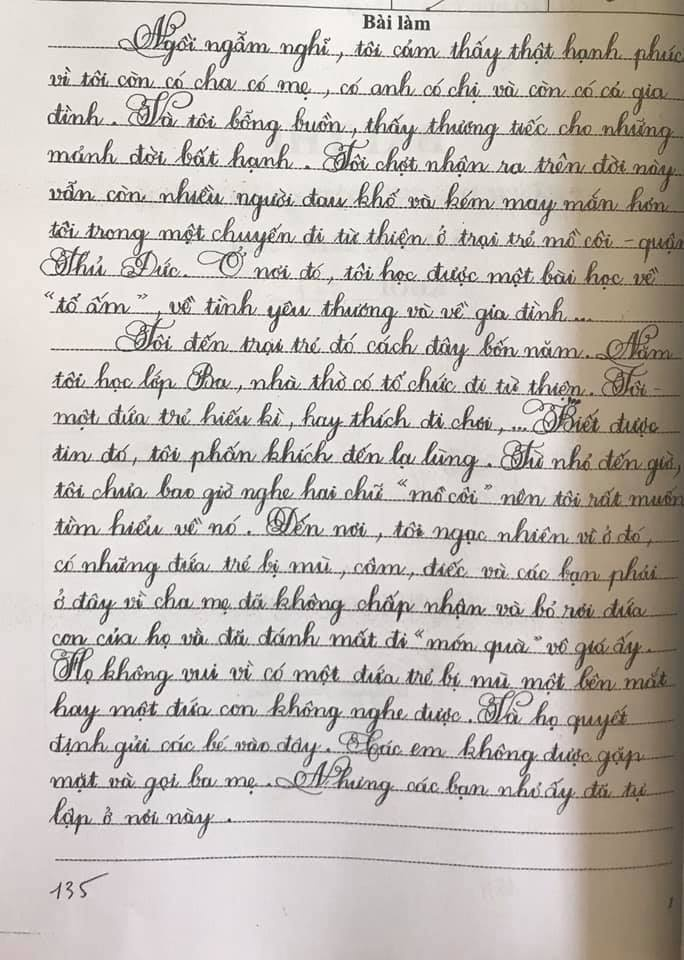 Nét chữ đẹp của một học sinh lớp 7, Trường THCS Cầu Kiệu