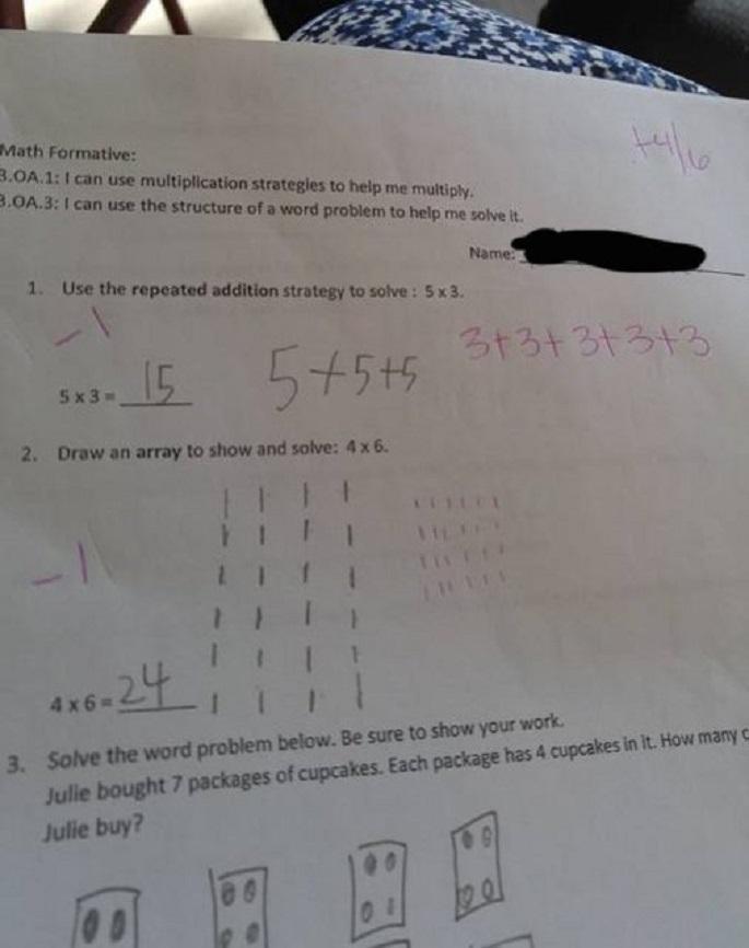 Bài toán lớp 3 và phần chấm điểm của giáo viên gây tranh cãi dữ dội.