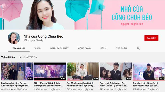 Kênh Youtube mới thành lập của bà xã Quỳnh Anh đạt 100.000 lượt đăng ký. (Ảnh chụp màn hình)