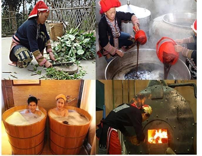 Tắm lá thuốc tươi của người Dao đỏ sẽ mang đến cho bạn cảm giác sảng khoái, thư thái. (Ảnh: yeusapa.com)