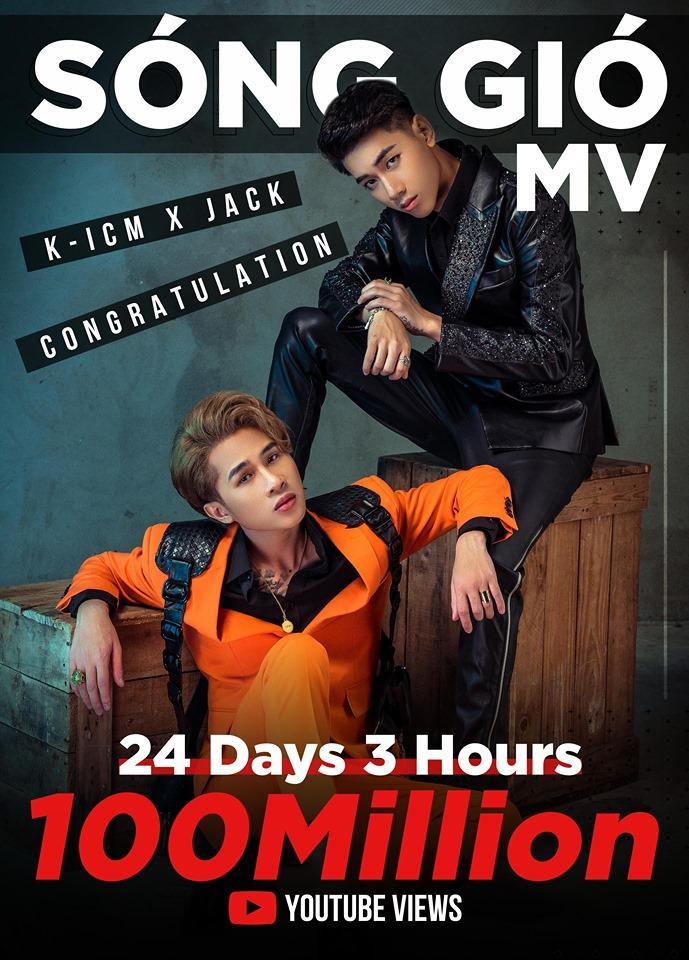 """Sau hơn 24 ngày 3 giờ chính thức """"thả xích"""", MV Sóng gió từ Jack – K-ICM đã cán mốc 100 triệu lượt xem trên Youtube."""