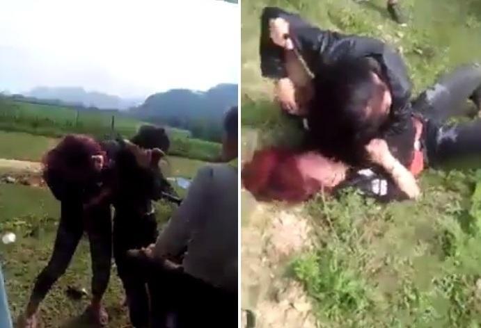 Hai nữ sinh Nghệ An đánh nhau.(ảnh chụp clip).