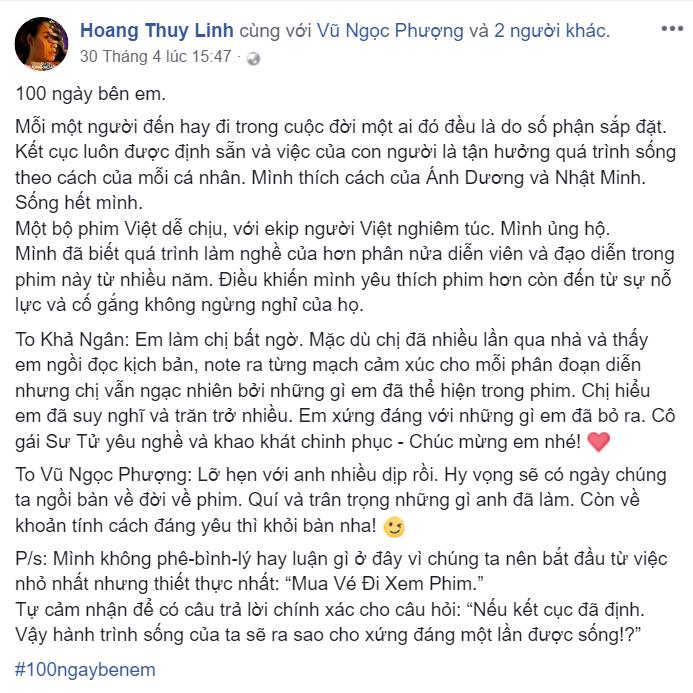 Hoàng Thùy Linh với dòng cảm nhận dài sau khi xem phim.