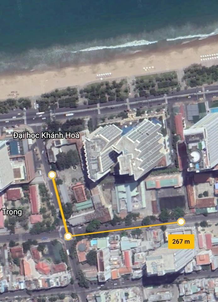 Vị trí của trường so với biển Nha Trang.