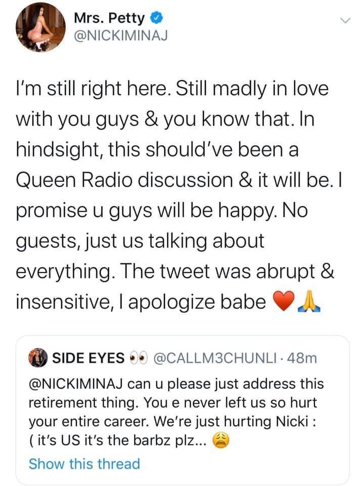 Sau chưa đầy 24 giờ, Nicki Minaj đã phải lên tiếng xin lỗi fan hâm mộ thế này đây.