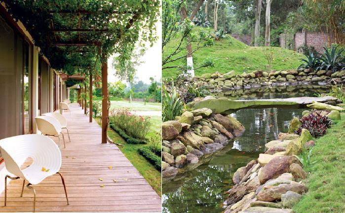 Khu nhà của Mỹ Linh rộng rãi được nữ ca sĩ đầu tư chiếc hồ cá gần gũi với thiên nhiên.