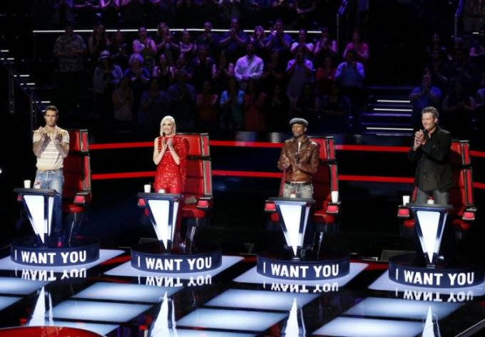 """THE VOICE -- """"Blind Auditions"""" -- Pictured: (l-r) Adam Levine, Gwen Stefani, Pharrell Williams, Blake Shelton -- (Photo by: Trae Patton/NBC)"""