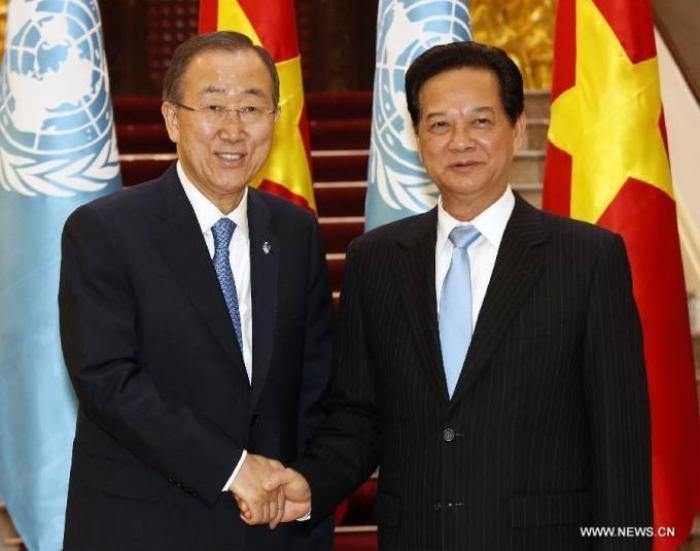 Chủ tịch nước Trương Tấn Sang tiếp Tổng thư ký Liên Hợp Quốc Ban Ki Moon thăm chính thức Việt Nam.