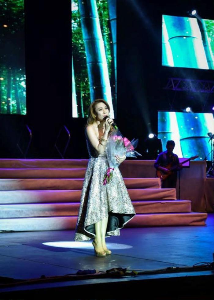 Hình ảnh của Mỹ Tâm trên sân khấu trong chuyến lưu diễn hồi tháng 9.