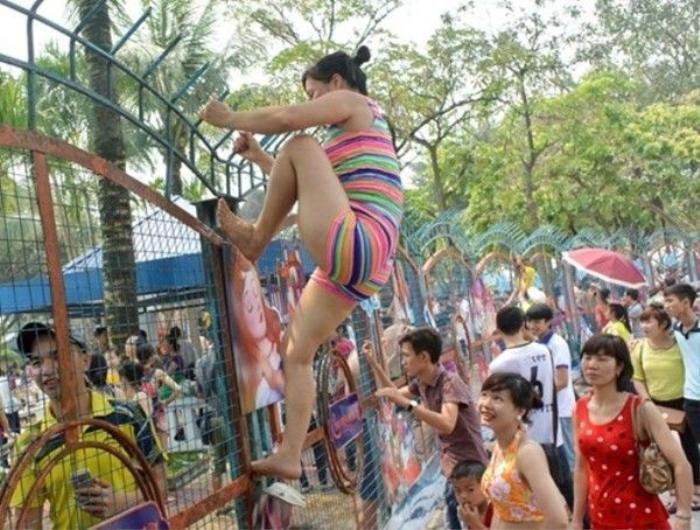 Nhiều thiếu nữ Hà thành vứt sỉ diện, leo rao để... được bơi miễn phí.