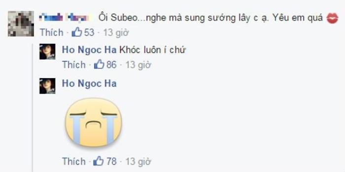 """Bình luận chia sẻ cảm xúc với fan của Hồ Ngọc Hà về câu nói """"mát lòng"""" từ Subeo."""