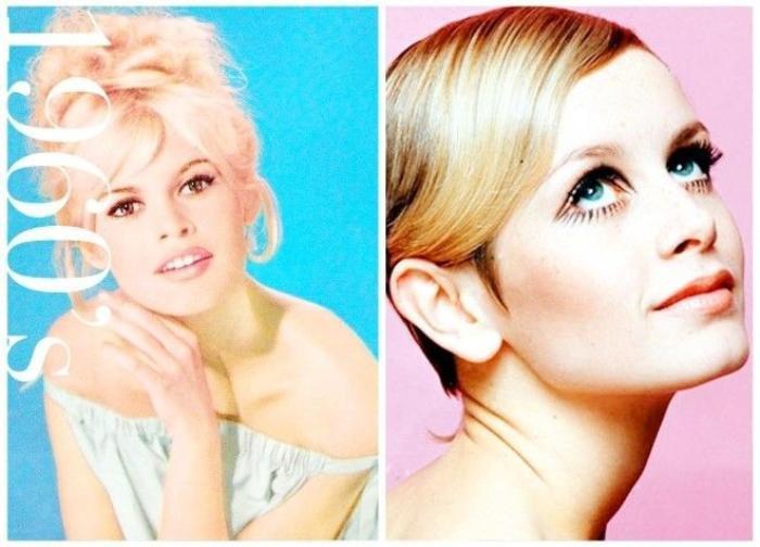 Cô đào Twiggy (phải) nổi tiếng với mái tóc bob và đôi môi màu nude từng là biểu tượng của thập niên 60