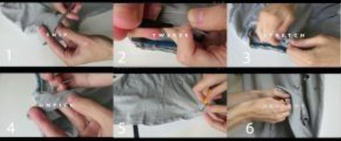 Bước 1: Cắt tách đôi các đường viền áo. Bước 2: Dùng nhíp kéo cac đường viền đó cho chúng giãn ra. Bước 3: Dùng tay kéo giãn phần viền và đường cổ áo. Bước 4: Dùng dao rạch các đường chỉ ở viền. Bước 5: Rạch tiếp thành các lỗ nhỏ viền dưới áo Bước 6: Dùng dao hoặc kéo và tạo các lỗ to hoặc nhỏ tùy theo ý thích của bạn.