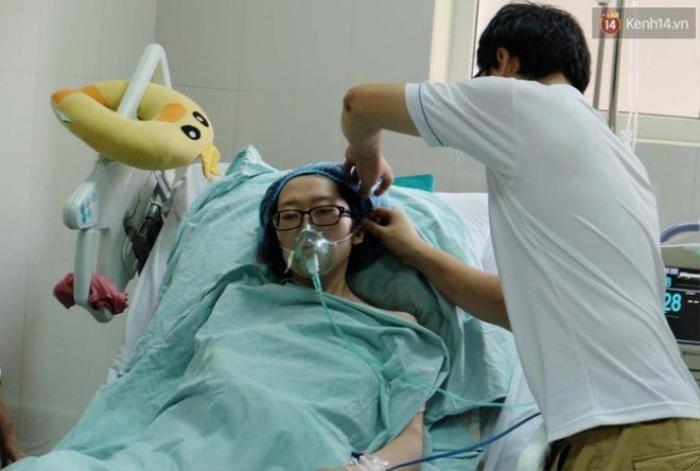 Chị Trâm đang được điều trị tại khoa Gây mê hồi sức, Bệnh viện K Trung ương.