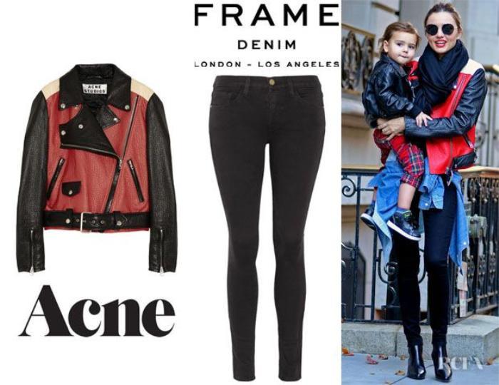 Miranda-Kerrs-Acne-Merci-Colour-Block-Leather-Jacket-And-Frame-Denim-Le-Luxe-Noir-Skinny-Jeans