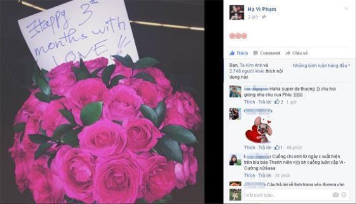 """Nhưng chỉ sau đó ít ngày, Hạ Vi đã lại """"khoe"""" bó hoa hồng được bạn trai tặng kỷ niệm 3 tháng yêu nhau, xóa tan tin đồn chia tay."""
