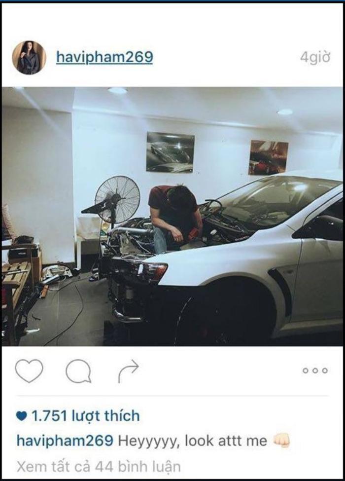 23/12/2015 siêu mẫu Hạ Vi vừa đăng tải lên instagram hình ảnh một người đàn ông đang cặm cụi sữa chữa trên một chiếc xế hộp