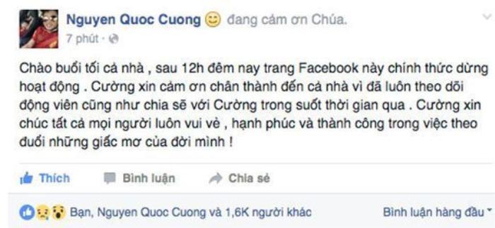 Ngày 26/04/2016 Cường Đô la tuyên bố đóng cửa Facebook và InstagramInstagram.