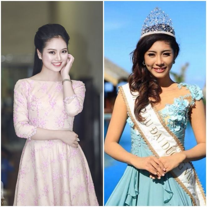 Hoa hậu các dân tộc Việt Nam Ngọc Anh (trái) và Hoa hậu Đại dương Việt Nam Đặng Thu Thảo vẫn chưa biết có