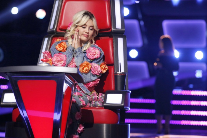 """THE VOICE -- """"Blind Auditions"""" -- Pictured: Miley Cyrus -- (Photo by: Trae Patton/NBC)"""
