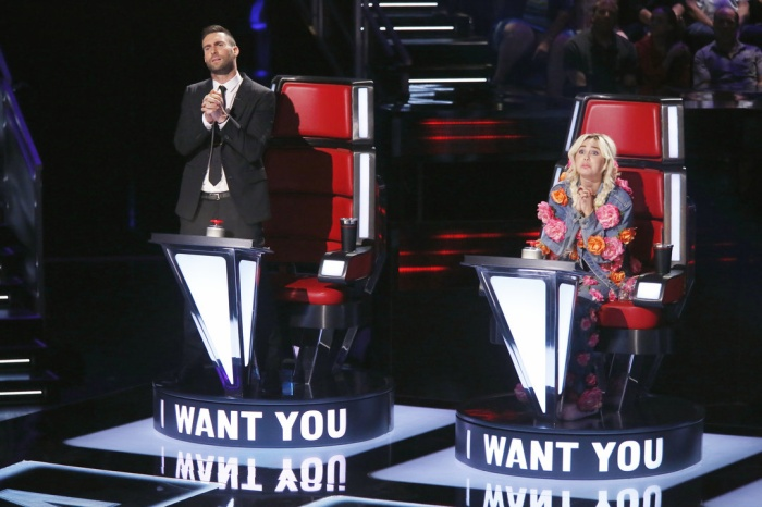 """THE VOICE -- """"Blind Auditions"""" -- Pictured: (l-r) Adam Levine, Miley Cyrus -- (Photo by: Trae Patton/NBC)"""