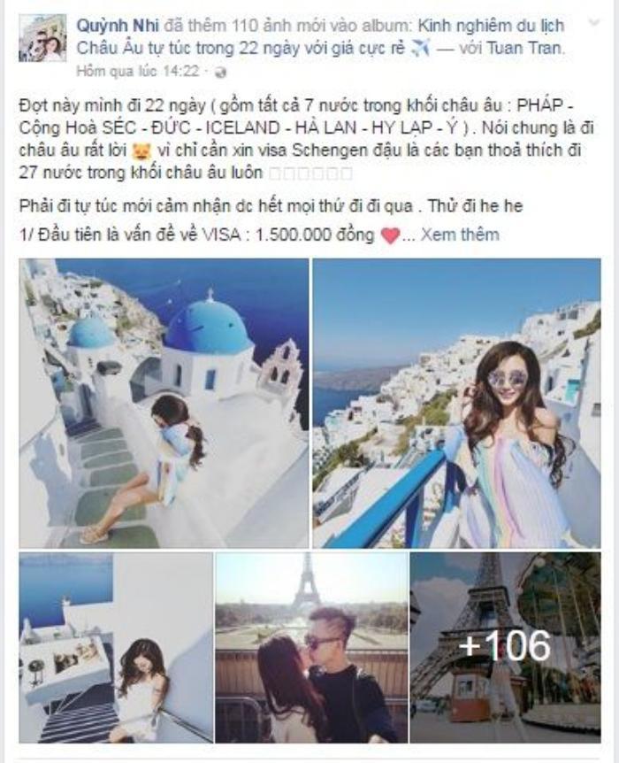Quỳnh Nhi chia sẻ trên trang cá nhân về kinh nghiệm đi du lịch châu Âu.