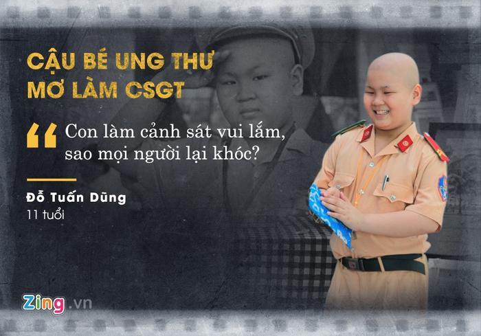 Ngày 3/11, Đỗ Tuấn Dũng qua đời vì căn bệnh ung thư máu khi chưa tròn 11 tuổi. Cách đây gần một năm, Dũng được các bác sĩ và công an TP Đà Nẵng hiện thực hoá ước mơ trở thành CSGT ngay trong ngày sinh nhật.
