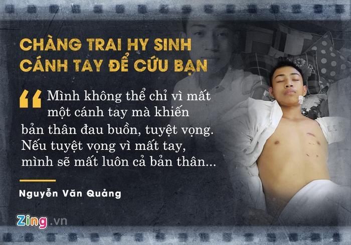 Nguyễn Văn Quảng (19 tuổi) mất cánh tay trái sau vụ tai nạn giao thông khi đi xe máy từ quê Nghệ An ra Hà Nội. Nam sinh được cho là đã dùng cánh tay để cứu người bạn đi cùng thoát chết.