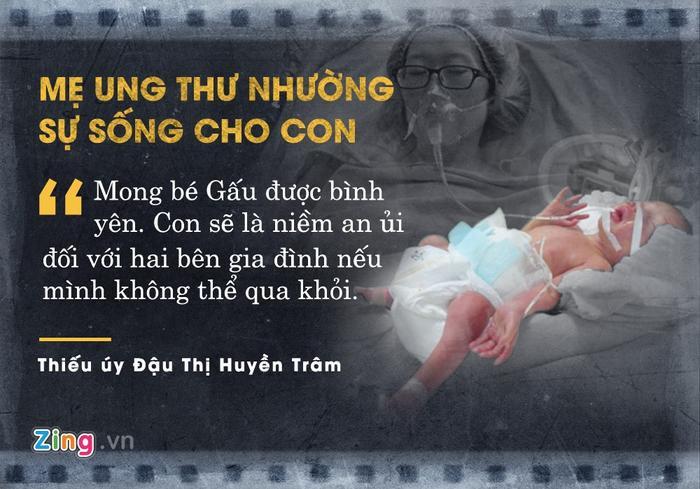 Sau 17 ngày làm mẹ và chiến đấu với căn bệnh ung thư phổi giai đoạn cuối, thiếu úy Đậu Thị Huyền Trâm qua đời. Trước đó, người mẹ can đảm đã từ chối điều trị ung thư trong giai đoạn thai kỳ để nhường sự sống cho con.