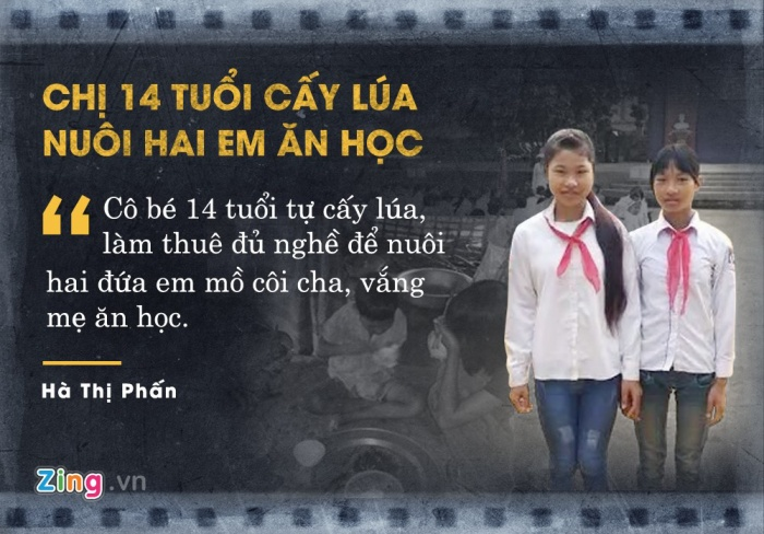 Mới 14 tuổi, em Hà Thị Phấn (Yên Bái) phải tự cấy lúa lấy gạo, làm thuê nuôi hai em ăn học. Ba chị em Phấn mồ côi cha, mẹ bỏ đi từ lâu, dựa vào nhau sống lay lắt qua ngày. Tuy cuộc sống khó khăn, cả ba vẫn nuôi ước mơ đến trường, học chữ để thoát nghèo.