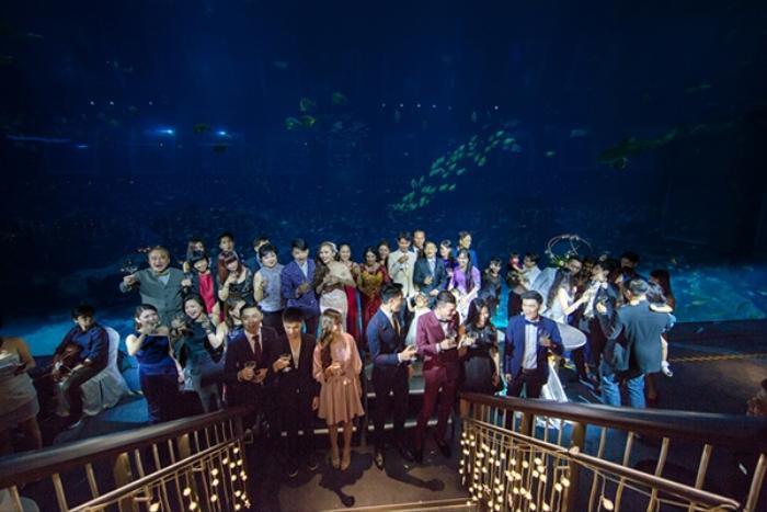 Khách khứa tỏ ra thích thú trước một đám cưới được tổ chức tại thủy cung.