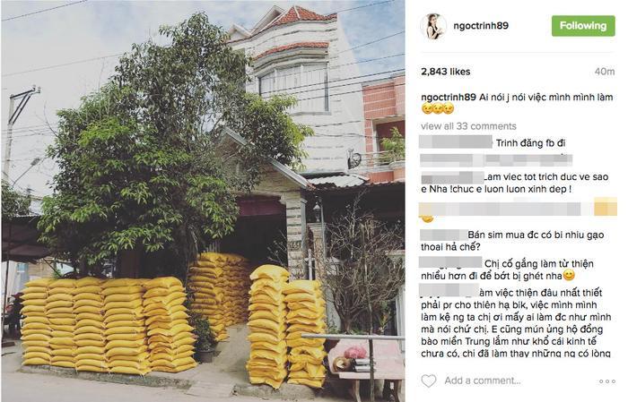 Đồng thời, cô cũng đăng tải hình ảnh 16 tấn gạo lên trang Instagram để thông báo.