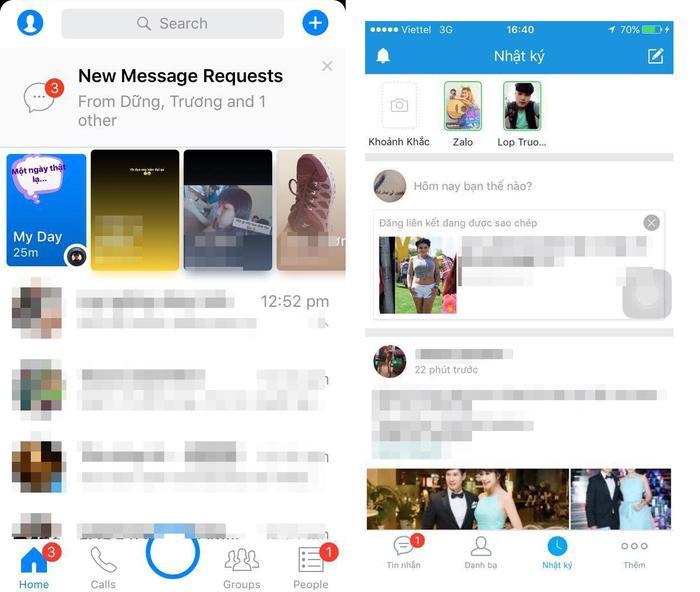 Rất dễ để có thể nhận ra nét giống nhau giữa Zalo và Faceboo Messenger.