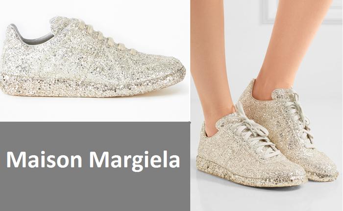"""Giày có xuất xứ từ nước Ý, được gia công bên trong bằng chất liệu da và phủ ngoài một lớp kim tuyến. Tuy đẹp mê mẩn là vậy nhưng giá của """"nàng ấy"""" không hề mềm, bạn cần bỏ ra 550 euro tương đương hơn 13 triệu đồng."""