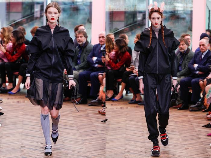 Tuy nhiên để không làm mất đi sự nữ tính, những chiếc áo khoác được nữ tính hóa trong kiểu dáng khá nhiều. Phải chăng, cái mới đầu tiên mà Prada muốn tiên phong là những chiếc áo khoác may tay bồng bềnh, lấy cảm hứng từ phong cách của những công nương nhà quý tộc châu Âu thời trung đại.