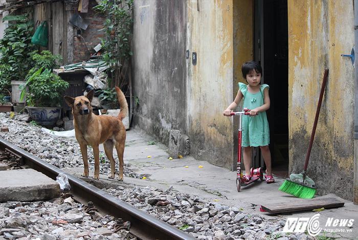Cô bé này thản nhiên nhìn tàu hỏa đang sầm sập chạy đến mà không chút sợ hãi.
