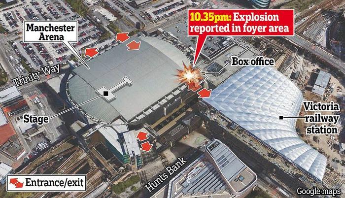 Nơi vụ nổ xảy ra vào lúc 10h35 tối 22/5.