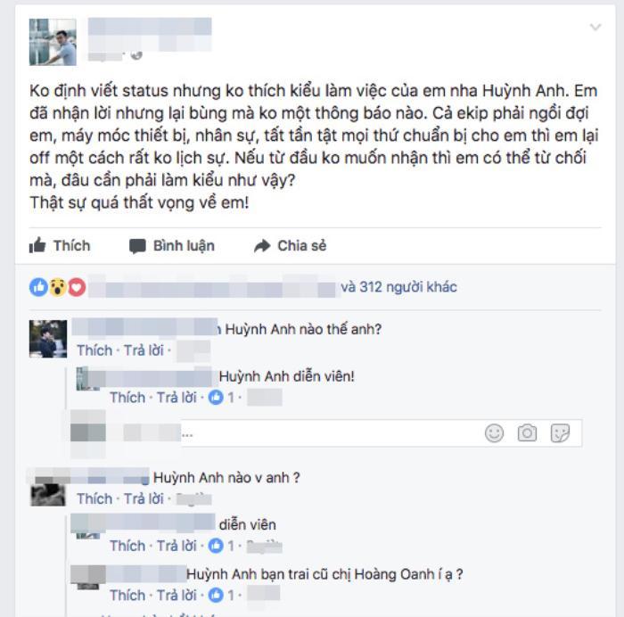 Vừa chia tay Hoàng Oanh, Huỳnh Anh lại bị tố làm việc thiếu chuyên nghiệp