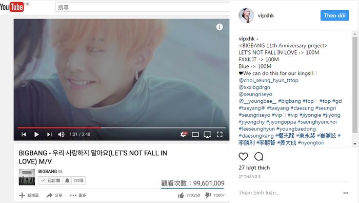 Các V.I.P đồng loạt kêu gọi tăng view cho ca khúc mừng 11 năm debut của BigBang.