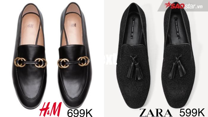 Vẫn là những đôi giày loafer tông đen huyền thoại nhưng cả hai nhà H&M và Zara lại có cách xử lý chất liệu và phom dáng riêng. Nhỉnh hơn với mức giá 100.000VNĐ, mẫu giày của ông lớn đến từ Thuỵ Điển – H&M lại trông có vẻ bắt mắt hơn nhờ vào chất da thời thượng cùng khuyên kim loại ánh vàng.