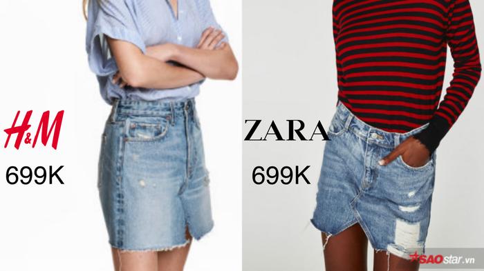 """Thời đại váy jeans lên ngôi, ai ai cũng cần thủ cho mình """"siêu phẩm"""" cực hot này. Vốn đi đầu xu hướng, không quá khó để cặp đôi """"oan gia ngõ hẹp"""" H&M – Zara cập nhập item nóng bỏng tay trên vào list hàng tuyển của mình. Chỉ với mức giá 699.000VNĐ, thương hiệu nào sẽ được giới trẻ ưu ái nhỉ?"""