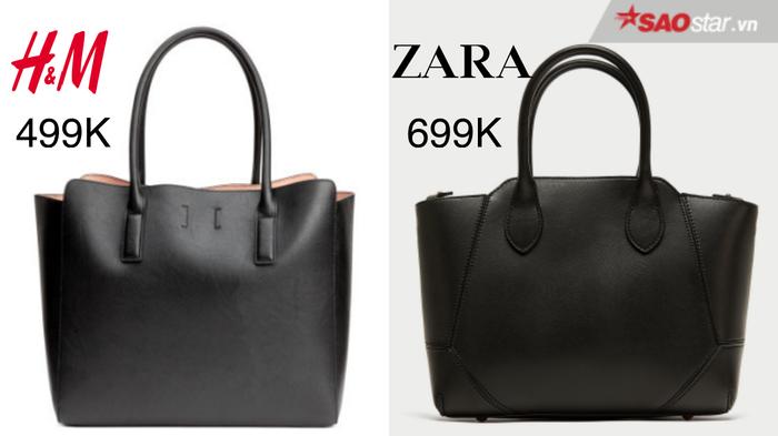 Tiện dụng, trendy và dễ dàng kết hợp cùng nhiều kiểu quần áo khác nhau là lý do kiểu túi xách này được ưa chuộng hơn cả. Nhìn lướt qua, hai thiết kế này đều có chất liệu, kiểu dáng na ná nhau. Thế nhưng, mẫu túi của Zara dường như có phần chỉnh chu và tỉ mỉ hơn, vì vậy mà nó có giá cao hơn 200 nghìn đồng so với mẫu H&M.