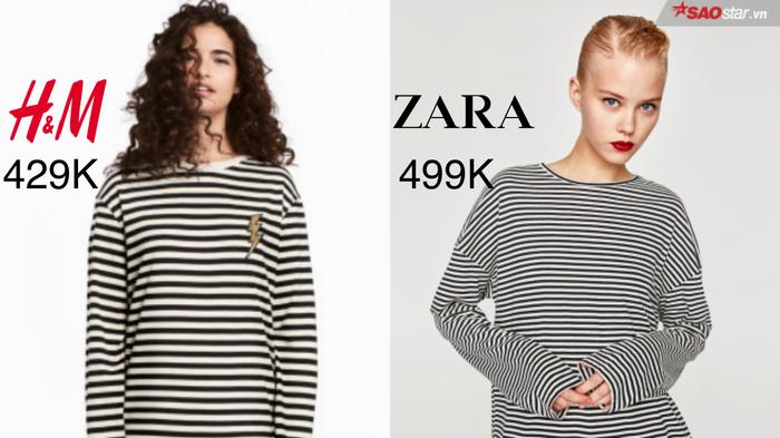 Chênh lệch nhau không bao nhiêu nhưng nếu phải chọn, ắt hẳn nhiều bạn trẻ sẽ tung phiếu bầu cho mẫu áo basic của H&M. So với bảng sọc Zara có vẻ mảnh và nhuyễn hơn thì H&M chọn cho mình phong cách hơi nổi loạn bằng cách nhấn nhá biểu tượng sấm sét màu vàng lạ mắt.