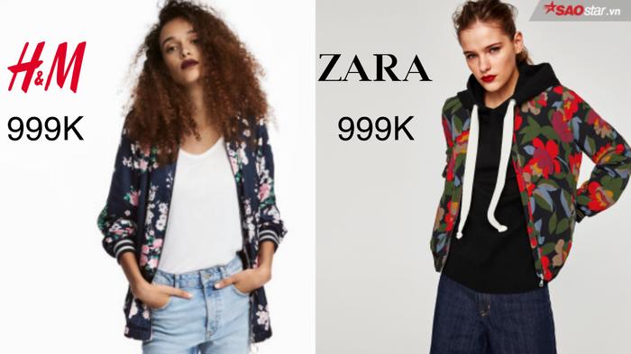 """Cũng giống như áo khoác denim bụi bặm, bomber jacket cũng là một item mang tính biểu tượng cao trong gia phả thời trang thế giới. Phá cách cùng hoa lá cành hơi hướng tropical, cả hai thương hiệu lớn đều cho ra mắt hai thiết kế mang tính đột phá cao. Một bên H&M nổi loạn nhưng vẫn giữ được nét nữ tính, một bên Zara """"ngầu"""" và """"chất lừ"""", bạn sẽ chọn ai?"""
